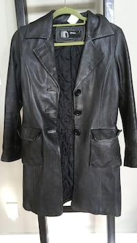 Ladies leather grey car coat length by ONLY SIZE 6 lined with warm quilting