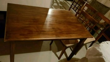 Walnut dinette set with 4 chairs