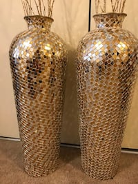 """New large 30"""" tall gold silver mosaic vases free bamboo sticks click on my profile picture on this page to check my other listings message me if you interested pick up in Gaithersburg Maryland 20877 all sales final  Gaithersburg, 20879"""