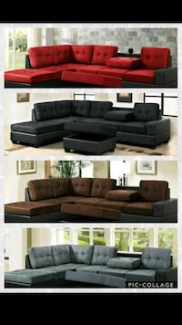 brown leather sectional sofa with ottoman Garland
