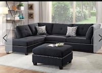 Brand new black linen sectional sofa with ottoman  Silver Spring, 20902