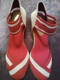 red-and-white ankle strap wedges Nashville, 37013
