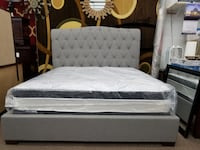 Gray upholstered king size bed frame with king size double sided pillowtop mattress package deal 47 km