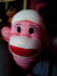white and pink sock monkey plush toy Sand Springs, 74063