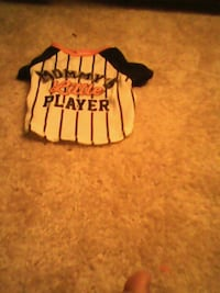 baby's white, black, and orange Mommy's Little Player baseball jersey top District Heights, 20747