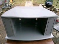 TV stand on wheels with glass shelf for large TV