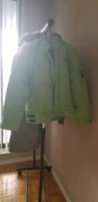 avacado green down coat