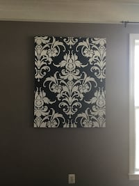 Large Black & White Canvas Damask Wall Art Leesburg, 20176