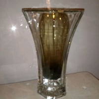 clear glass vase with brown wooden base Yuma, 85364