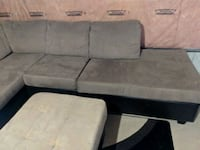 gray and black suede sectional couch Hamilton, L8E 0B9
