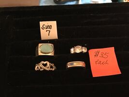 925 gemstone rings $35 each some sold