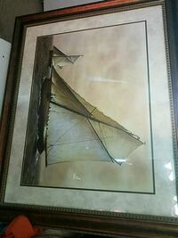 brown wooden framed white sailboats\ painting Saucier, 39574