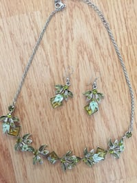 silver-colored necklace with green gemstones Toronto, M9M 0A3