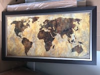 World map - wall art, brown color Montreal