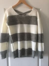 white and gray striped scoop neck sweater