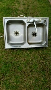 stainless steel double sink with faucet 2291 mi