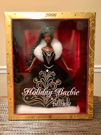 Holiday Barbie wearing white and black dress doll with box