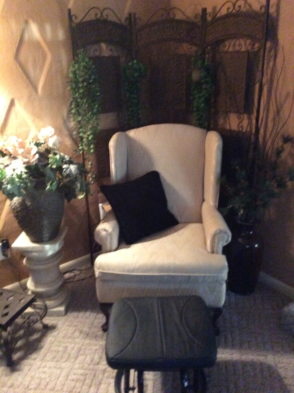 Used White Fabric Wingback Chair With Antique Metal Room Screen
