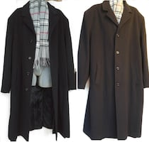 Oakville CARRINGTON MENS XXL 2X 50 52 LONG CASHMERE WOOL BLEND COAT BLACK & Free Scarf