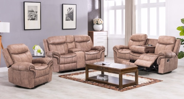 BEAUTIFUL 3 PCS MOTION RECLINING LIVING ROOM SET. *(Take it home TODAY  easily with only $49 Dlls down - Ask for details)*