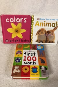 Set of 3 board books, animals,colors,words