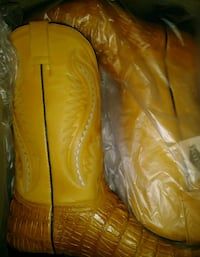 pair of brown leather cowboy boots in box Baltimore