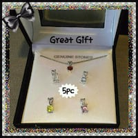 NEW 5PC SILVER TONE INTERCHANGEABLE GEM NECKLACE Ontario, 91762