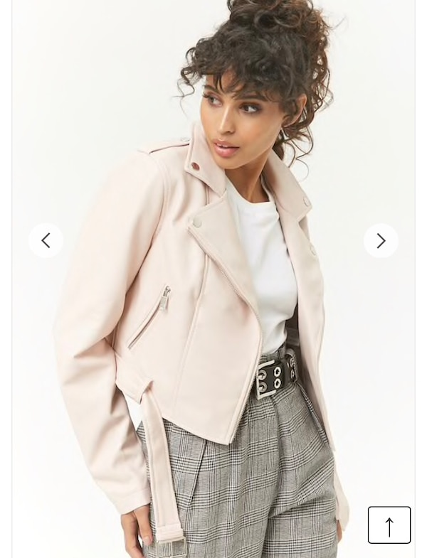 Faux Light Pink Leather Jacket