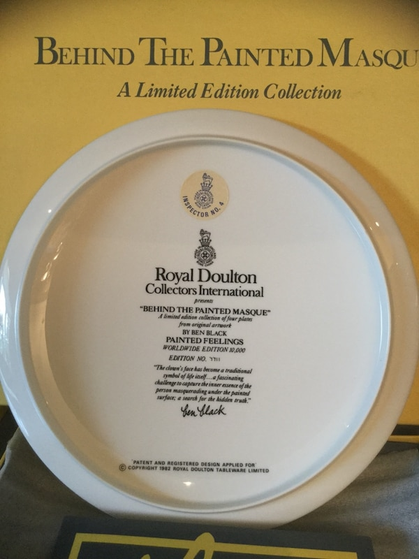 "ROYAL DOULTON COLLECTORS LIMITED EDITION ""PAINTED FEELINGS - BEHIND THE PAINTED MASQUE  by BEN BLACK # 7711 de117bbf-5edb-4d45-81ef-2f8b711d2cae"