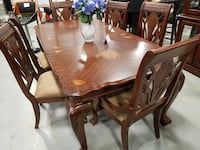 Brand new classical formal dining table set includes high-quality 6 chairs College Park
