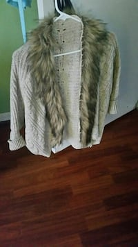 cable knitted gray fur-lined cardigan
