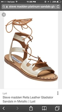 unpaired brown and white leather open-toe sandal Lexington, 29073