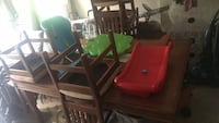 Brown wooden dining table set plus 6 chairs