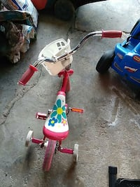 toddler's red and white floral bike with training wheels Maywood, 60153