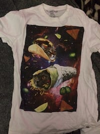 White and multicolored cat print crew-neck t-shirt