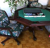 Poker Table with Five Chairs