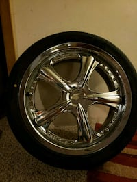 """Set of 4 chrome 18"""" rims and west lake steel belted tires. Negotiable Baltimore, 21225"""