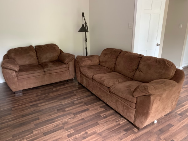 Sold Microsuede Sofa And Loveseat Set