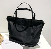 black and gray leather tote bag Singapore, 238863