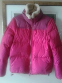 Coach pink puffer down jacket with leather trim.SizeM. Toronto, M2R 1N3