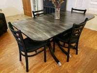 Dinning Room Table & Chairs Set Black, Grey, Silve Mesa, 85207
