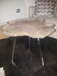 brown wooden base white marble top table Mississauga, L5G 2S6