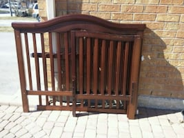 brown wooden  4 in 1 baby crib