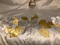 White satin and gold tree skirt Powell, 43065