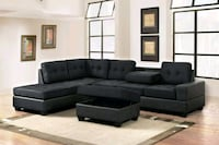 New tufted black fabric sectional sofa 1297 mi