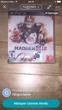 PS3 Madden NFL 12 game case screenshot Québec, G1H 5H2