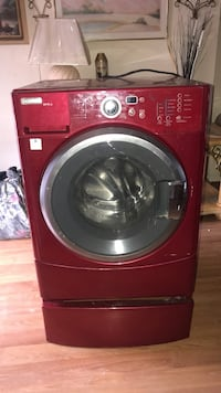 red LG front-load clothes washer