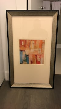 abstract painting with gray frame