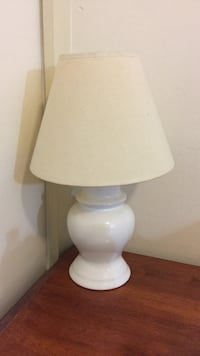 white ceramic base table lamp