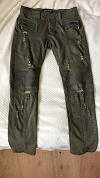 Biker Jeans ripped, Balmain, olive green with blue seems, size 32 Canton, 48187